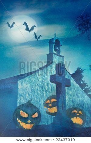 Tema de Halloween con capilla y calabazas