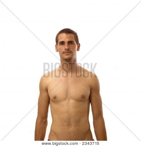 Shirtless Teen Isolated