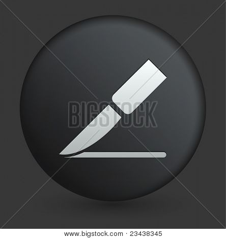 Scalpel Icon on Round Black Button Collection Original Illustration