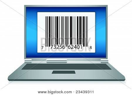 Laptop with Barcode illustration design