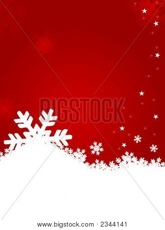 Snow Flakes In Red Background