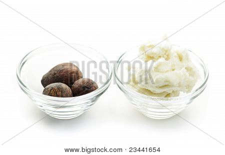 Shea Butter And Nuts In Bowls