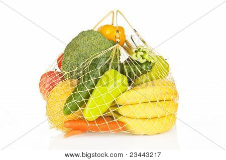Fruits And Vegetable Bag Isolated.