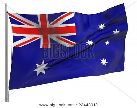 Flying Flag Of Australia - All Countries