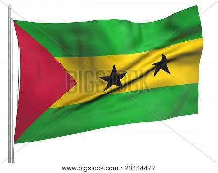 Flying Flag Of Sao Tome And Principe - All Countries