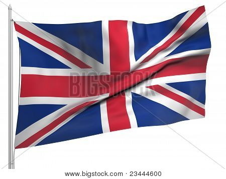 Flying Flag Of United Kingdom - All Countries