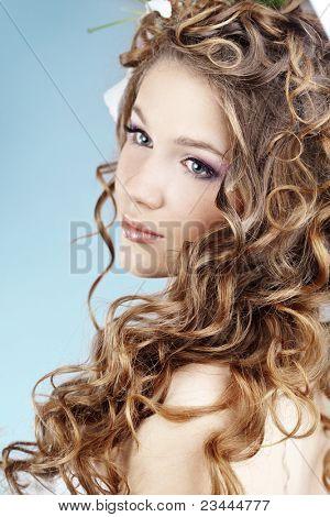 Studio portrait of beautiful bride