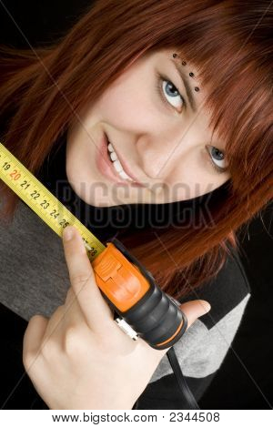 Girl Using Measuring Tape