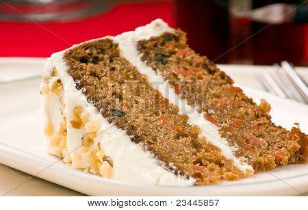 Walnut Carrot Cake On A Plate