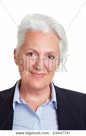 Smiling Senior Woman With Grey Hair