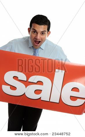 Ecstatic Man With Sale Sign