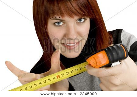 Redhead Girl With Measuring Tool Ruler