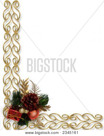 3D Classic Christmas Border With Pine Cone Decoration