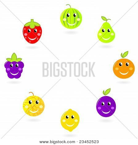 Fruit Mascots / Characters In Circle Isolated On White.