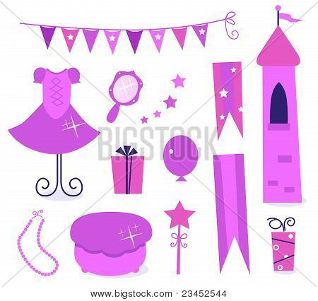 Cute Icons For Little Princess Party Isolated On White ( Pink )..