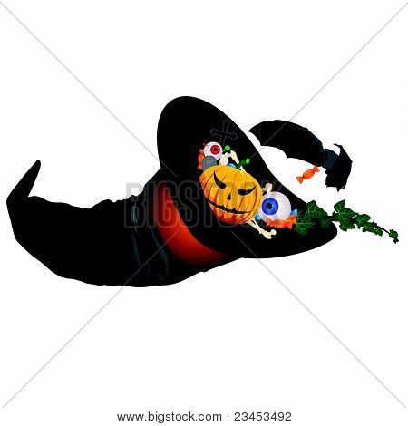 Halloween symbols in a witch hat