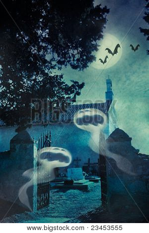 Halloween Illustration With Evil Spirits