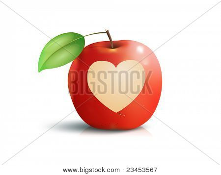 An image of a beautiful red apple with a heart