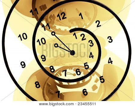 black clock of infinite time on beige reflective background