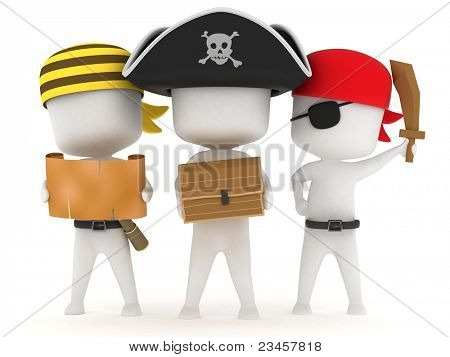 3D Illustration of Kids Dressed as Pirates
