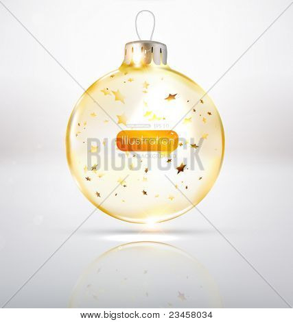 Transparent glass Christmas Ball with golden stars