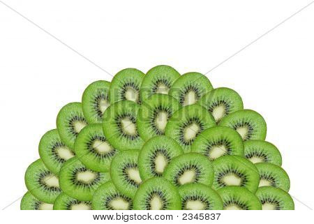 A Slices Of Kiwi On The White Background