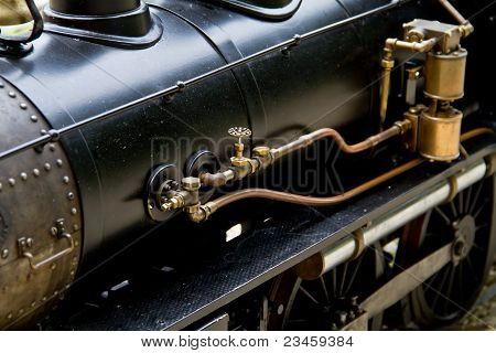 steam train in brass and steel