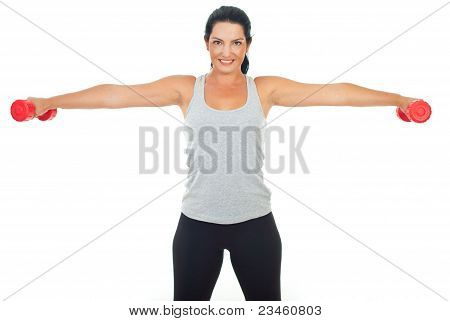 Smiling Woman Lifting Barbell