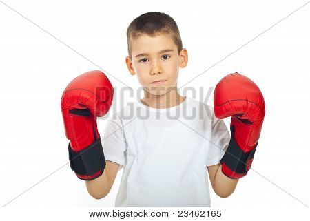 Sad Boy With Boxing Gloves
