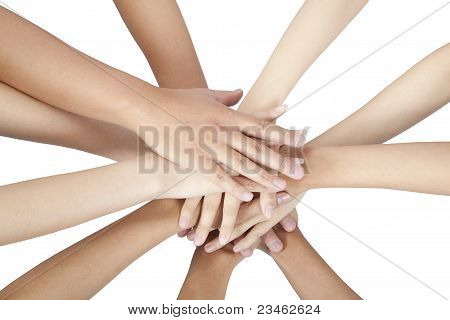 people's hands together isolated