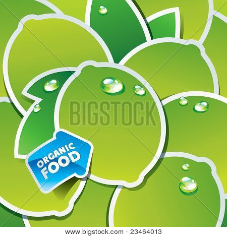 Background From Limes And Leaves With An Arrow By Organic Food.