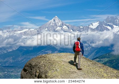 Hiker in the swiss alps