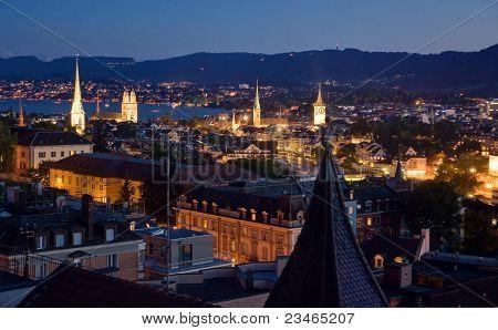 Nightview over Zurich