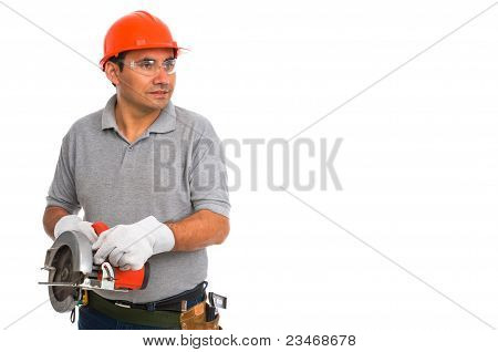 portrait isolated worker using electric handsaw