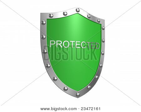 Protection Shield. Isolated On The White Background