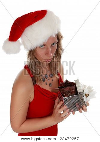 Cute Girl Holding Xmas Gift