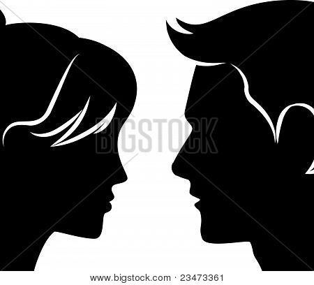 Vector illustration of a beautiful silhouette of a male and female on a white background