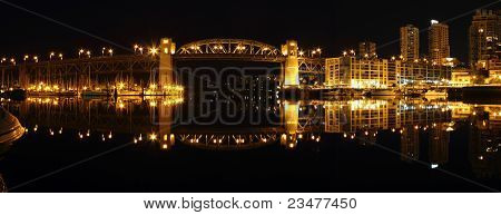 Burrard Bridge Night Panorama, Vancouver