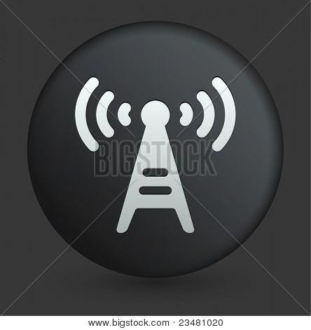 无线电塔图标上圆形的黑色按钮集合原始图