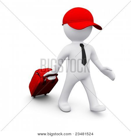 3D man with a suitcase going travelling
