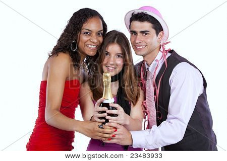 Three happy young friends celebrating the New Year party (isolated on white)