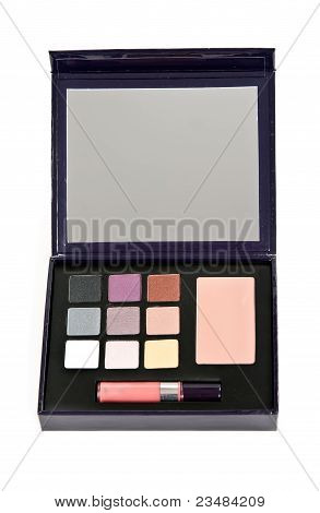 Cosmetic Set With Shadows For The Eyes And Lipstick