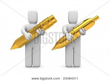 People hold gold pen and pencil. Image contain clipping path