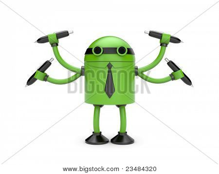 Robot with pens