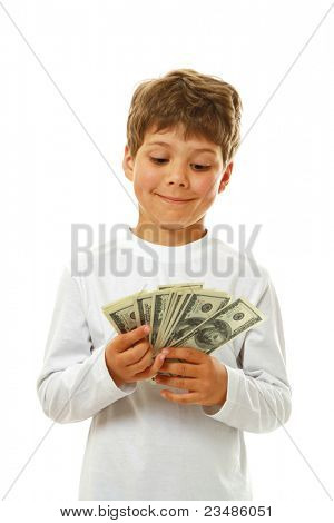 Smiling child with dollar notes isolated
