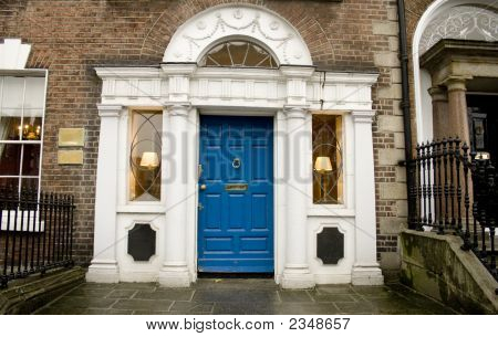 Georgian Architecture With Blue Door