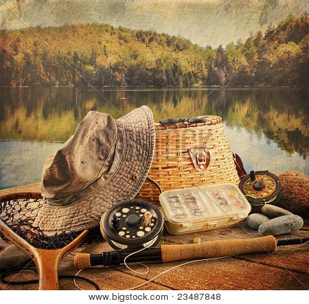 Fly fishing equipment on deck with a vintage look