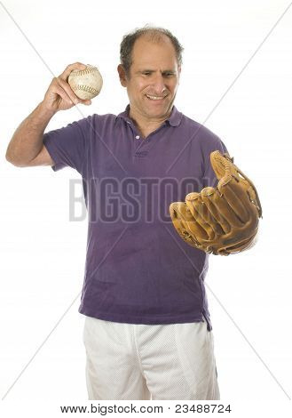 Man Softball And Baseball Glove