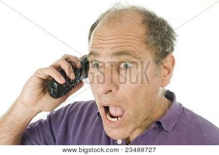 Man Middle Age Emotional Telephone