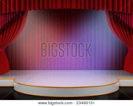 Empty stage with red curtain (3d render)